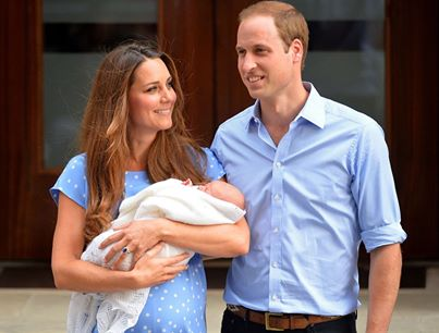 Prince William and Catherine, Duchess of Cambridge show their new-born baby boy to the world's media outside the Lindo Wing of St Mary's Hospital in London on July 23, 2013.