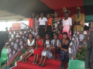 President Banda posing with her beneficiaries at a public rally