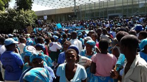 Sea of blue that could not all be accommodated inside COMESA hall