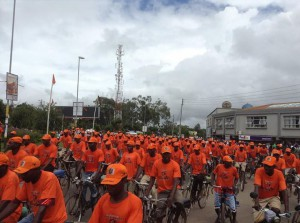 A PP troop of bicycles escorting their leaders to COMESA