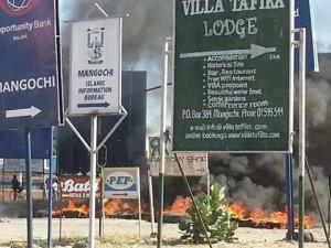 Protestors burning tires-Mangochi