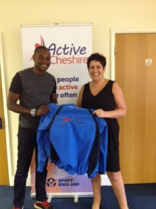 Active Cheshire CEO Anne Boyd, receiving some of the clothing.