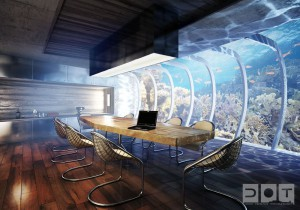 architecture-interior-outstanding-world-first-underwater-hotel-in-dubai-for-meeting-room-with-wooden-material-table-and-metal-table-legs-feat-wood-flooring-fantastic-underwater-rooms