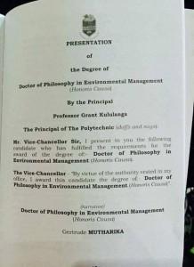 Madam Mutharika degree
