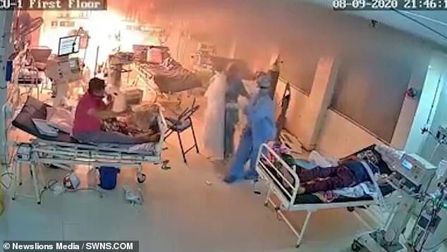 Ventilator bursts into flames on Covid ward in India 3
